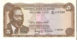 BILLETE DE KENIA DE 5 SHILINGI DEL AÑO 1972 (BANK NOTE) - Kenia