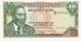 BILLETE DE KENIA DE 10 SHILINGI DEL AÑO 1977 (BANK NOTE) VACA-COW - Kenya