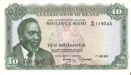 BILLETE DE KENIA DE 10 SHILINGI DEL AÑO 1973 (BANK NOTE) - Kenya
