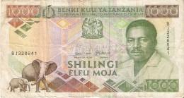 BILLETE DE TANZANIA DE 1000 SHILINGI DEL AÑO 1989 (BANKNOTE) ELEFANTE-ELEPHANT - Tanzanie