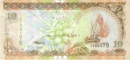 BILLETE DE MALDIVAS DE 10 RUFIYAA DEL AÑO 2006   (BANKNOTE) - Maldivas