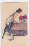 CARD  DONNINA SENO NUDO REGGICALZE CANE   CHARME VASO FIORI DI ROSE    -FP-VSF-2- 0882-21482 - Ilustradores & Fotógrafos