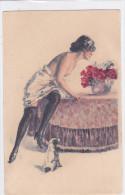 CARD  DONNINA SENO NUDO REGGICALZE CANE   CHARME VASO FIORI DI ROSE    -FP-VSF-2- 0882-21482 - Illustrators & Photographers