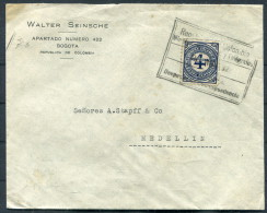 1926 COLOMBIA Provisional On Walter Seinsche Cover BOGOTA To MEDELLIN - Colombia