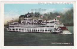 EXCURSION STEAMER 'CAPITOL' ON THE MISSISSIPPI RIVER USA - C1920s Postcard - RIVER BOAT - Dampfer