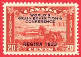Canada #  203 - 20 Cents - Mint N/H - Dated  1933 - Grain Exhibition / Exposition De Grains - 1911-1935 Règne De George V