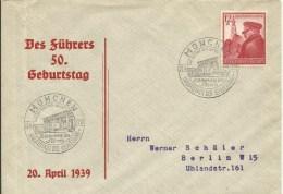 1939   Des Führers 50. Geburtstag   Gelaufen Von München (Sonderstempel) Nach Berlin - Cartas