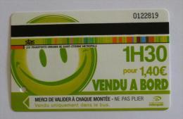 Ticket STAS  Saint Etienne (42/Loire) - 1H30 Bus Tramway - SMILEY SOURIANT