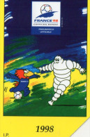 TELECARTE ITALIE  Lire 5.000 Football France 98 Coupe Du Monde  Michelin Bibendum - Italie