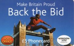 CARTE PREPAYEE ROYAUME-UNI  £5   L0NDON 2012  Candidate City - Royaume-Uni