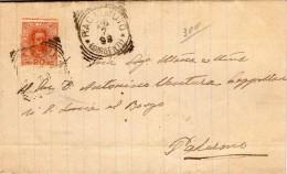 1898 LETTERA CON ANNULLO RACALMUTO AGRIGENTO - DENTELLATURA SPOSTATA - 1878-00 Umberto I