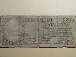 ESPAGNE - RARE - 2.50 PESETAS GENERALITAT De CATALUNYA. Barcelona 23 Septembre 1936. - [ 3] 1936-1975 : Régence De Franco