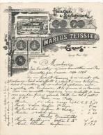 Facture à En-tête Publicitaire Huilerie & Savonnerie Marius Tessier Grans Provence 1895 - France