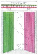 [DC0142] CARTOLINEA - MOLTO RARA - BICENTENARIO BANDIERA ITALIANA - 1797/1997 - DISEGNO A. GORRAINI - Manifestazioni