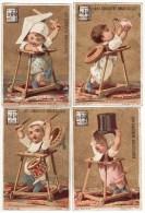 CHROMO Dorée Lait Concentré Anglo-Suisse Vallet-Minot Enfant Bébé Trotteur Origami épée Tambour Chapeau Biberon (4 Ch.) - Unclassified