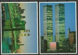 USA 1985 = 2 Post Cards World Trade Center Brooklyn Bridge Manhattan Unused - World Trade Center