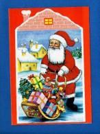 1803 - Père Noel : Cadeaux, Maisons, Neige... ... Carte Double Fine.. - Natale