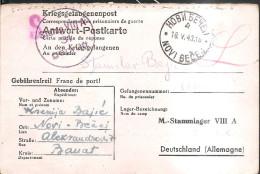 13.WWII GERMANY To Novi Becej Serbia 1943 POW STALAG VII A Prisoner #58791 PC - Deutschland
