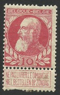 Belgium,  10 C. 1905, Sc # 85, Mi # 71, MH - 1905 Thick Beard