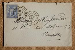 Enveloppe Pour Marseille Affranchissement Type Sage Oblitération Toulon Sur Mer Type 18 Var 78 - 1877-1920: Periodo Semi Moderno