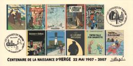 FRANCE 2007 N°54 Albums Fictifs + 2 Cachets Premier Jour FDC TINTIN KUIFJE TIM HERGE GUEBWILLER - Stripsverhalen
