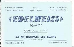 """74/ HAUTE SAVOIE... Carte De Visite Hôtel """" Edelweiss"""" , Propriétaire CURDEL à SAINT GERVAIS Les BAINS - Cartes De Visite"""