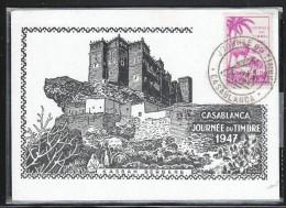 Marokko 1947, Tag der Briefmarke,  mit Kaktus Opuntia sp.  / Maroc 1947, Stamp Day, with cactus Opuntia sp.