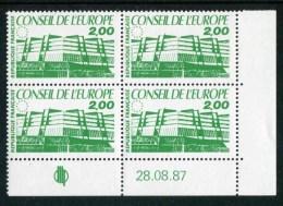 """Bloc De 4 Timbres** De 1987  """"2,00 F - Conseil De L´Europe"""" Avec Date 28.08.87 - Coins Datés"""