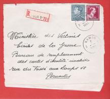 RECOMMANDE - AANGETEKEND -  L (devant) Col Ouvert Et Poortman Obl NAMUR 3 5 V 1951 - 1936-1951 Poortman