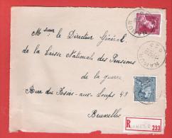 RECOMMANDE - AANGETEKEND -  L (devant) Col Ouvert Et Poortman Obl NAMUR D 2 - 1 II 1952 - 1936-1951 Poortman