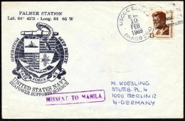 "ANTARCTIC, USA, 10. FEB 1969,USCGC ""EDISTO"", 2 Cachets: PALMER Station + DEEP FREEZE , Look Scan !! Lot 159-34 - Antarctic Expeditions"