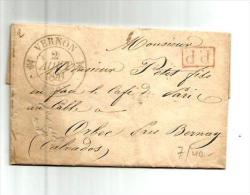 VERNON Eure CAD Type 12 1/2 Fleuron Du 2.8.1841 + GRIFFE PP ROUGE Pour ORBEC - Storia Postale