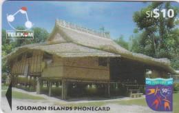 Solomon Islands, SOL-17, 1997 Native Huts, $10, Sigana Village, 2 Scans.