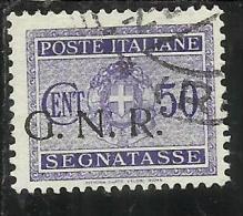 ITALIA REGNO ITALY KINGDOM 1944 REPUBBLICA SOCIALE ITALIANA RSI GNR G.N.R. TASSE TAXES SEGNATASSE CENT. 50 USED - Strafport