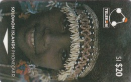 Solomon Islands, SOL-006, SI$ 20, Traditional Head Gear,  Young Girl Of Sulufou Island (Letter C), 2 Scans - Isole Salomon