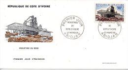 COTE-D�IVOIRE. N�276 de 1968 sur enveloppe 1er Jour (FDC). Industrie du bois.