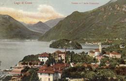 CARTOLINA D'EPOCA DICAMPO E ISOLA COMACINA PANORAMA INIZIO 900 VIAGGIATA NEL 1913 - Como