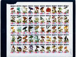 Mexique: 1985 belle planche de 50 vignettes champignons mushroom pour lutter contre la tuberculose