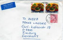 Finlande: 1978  belle lettre voyag�e vers l�Allemagne Timbres coix rouge champignons mushroom