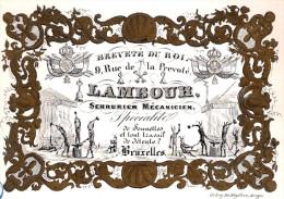 ca1850 SERRURIER MECANICIEN SONNETTES LAMBOUR Rue de la Prevote BRUXELLES CARTE PORCELAINE PORSELEINKAART FORGERON P178