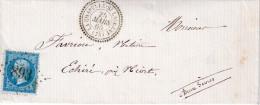 """N° 22 EMPIRE DENT .1865 . OBL GC 893 ET CAD TYPE 25 """" LA CHAPELLE ST LAURENT """" (75 ) POUR NIORT . TB . - Postmark Collection (Covers)"""