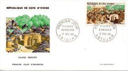 COTE-D´IVOIRE. PA 39 De 1968 Sur Enveloppe 1er Jour (FDC). Village Sénoufo. - Côte D'Ivoire (1960-...)