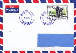 R] RARE: Belle Enveloppe Nice Cover Burundi Gorille Gorilla - Gorillas