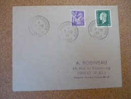 Journée De L'aviation Cholet 7/10/1945 - Marcophilie (Lettres)