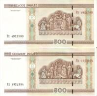 PAREJA CORRELATIVA DE BELARUS DE 500 RUBLEI DEL AÑO 2000  (BANKNOTE)  SIN CIRCULAR-UNCIRCULATED - Belarus