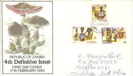 ZAMBIE. recolte des champignon et vie Africaine.  une belle lettre FDC adress�e en Afrique du Sud