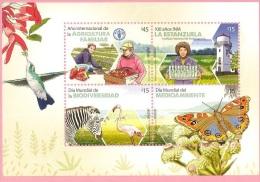 Faune flamant colibri oiseau papillon z�bre fraise fruit thirstle fleur NOUVEAU URUGUAY MNH Bloc Feulliet