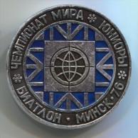 RUSSIA / SOVIET UNION - Biathlon, Vintage Pin, Big Badge, Sport, 1976. Minsk - Biathlon