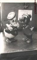 """CARTE PHOTO : DONALD ET CARIOLAS AUTOMATES MECANIQUE DYSNEY EN PLATRE 1955 """" CREATION """" JOUET ANCIEN TOYS DOLL - Disney"""