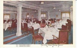 S.S. Nagasaki-maru S.S. Shanghai-maru Ocean Liner Ship, First Class Dining Room Interior View, C1920s Vintage Postcard - Paquebote